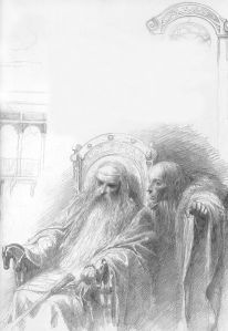 Théoden King and Wormtongue by Alan Lee