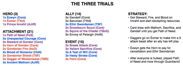 The Three Trials Deck List