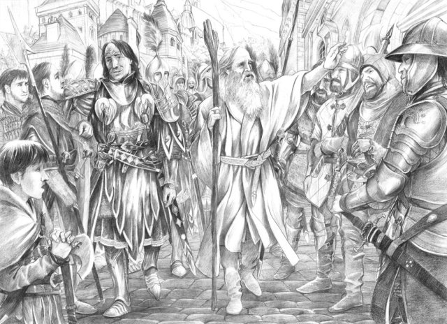 Mithrandir and Imrahil Kindling the Fires of Hope by Abe Papakhian