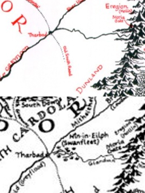 JRR Tolkien's map (1955) beside Christopher Tolkien's map (1980).