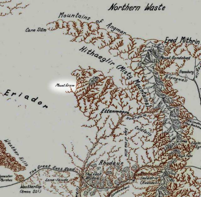 Tolkien never put Mount Gram on a map, so Karen Wynn Fonstad's work is purely a guess. Much is lost in the lore of the North.