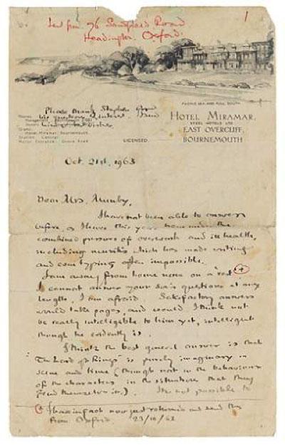 Tolkien Letter 1963